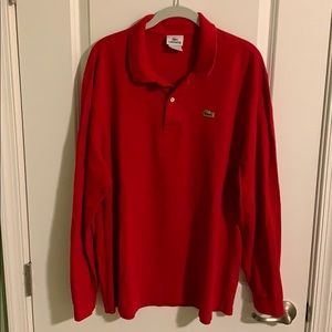 Lacoste Long Sleeve knit polo size 8 XL red